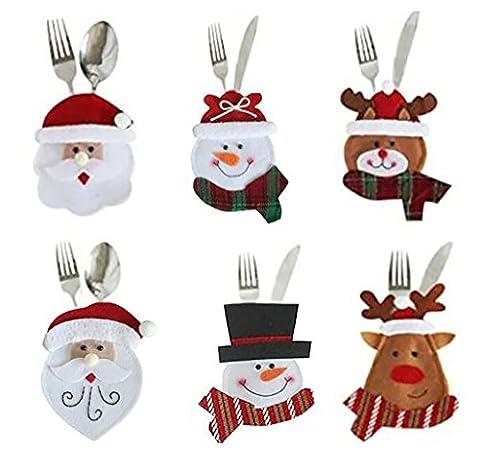 Harlem H 6 Stücke Weihnachten Bestecktasche Taschen Besteckbeute Schneemann & Weihnachtsmann & Deer Geschirr Sets Weihnachts Besteck Taschen Messer und Gabel Tisch Dekoration