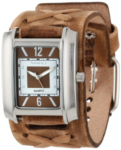 Nemesis Men's BFXB013B Square in Square Collection Brown Faded X Leather Band Watch