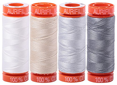 (4) 220 YD Spools Aurifil 50 wt Quilter's Super Set of Essential Piecing Colours -