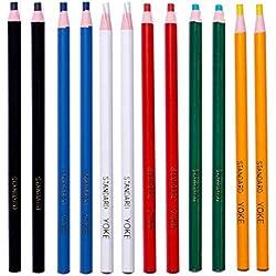 Ogquaton 12 Unids Peel Off Marker Grease Pencil Color Crayon Pen Paper Roll Cera Lápiz Para Metal Vidrio Tela Materiales de arte Práctico y útil