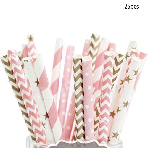 (Lederpolster Trinkhalme pink gold gestreift gemischt Kinder Geburtstag Hochzeit Deko Party Dekoration Event Supplies Trinken Papier Trinkhalme)