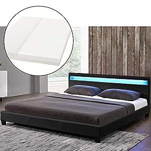 ArtLife LED Polsterbett Paris 140 × 200 cm mit Matratze und Lattenrost - Kunstleder Bezug & Holz Gestell - schwarz - modern & stabil - Einzelbett Jugendbett