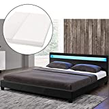 ArtLife LED Polsterbett Paris 180 × 200 cm mit Matratze und Lattenrost - Kunstleder Bezug & Holz Gestell - schwarz - modern & stabil - Doppelbett Bett