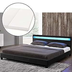 polsterbett paris 160 x 200 cm schwarz mit lattenrost kaltschaummatratze. Black Bedroom Furniture Sets. Home Design Ideas