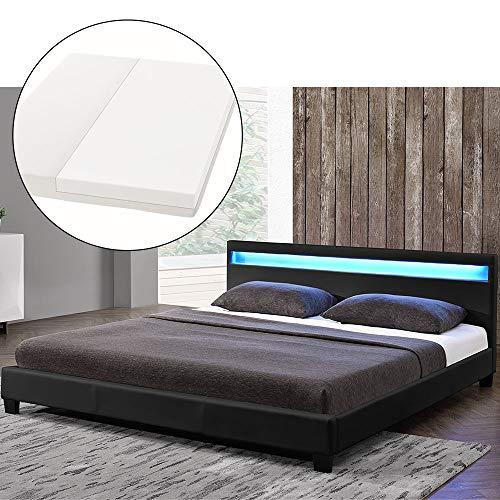ArtLife LED Polsterbett Paris 180 × 200 cm mit Matratze und Lattenrost - Kunstleder Bezug & Holz Gestell - schwarz - modern & stabil - Doppelbett Bett -