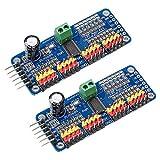 Electrely 2Pcs PCA9685 16 Channel 12-Bit PWM Servo Motor Driver IIC interface Module for Arduino Robot or Raspberry Pi Shield Module Servo Shield