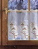 Bestickte Scheibengardine SCHNEEMANN AM FUTTERHAUS 35cm / 55cm hoch Plauener Spitze, Weihnachtsgardine, Weihnachtsdeko