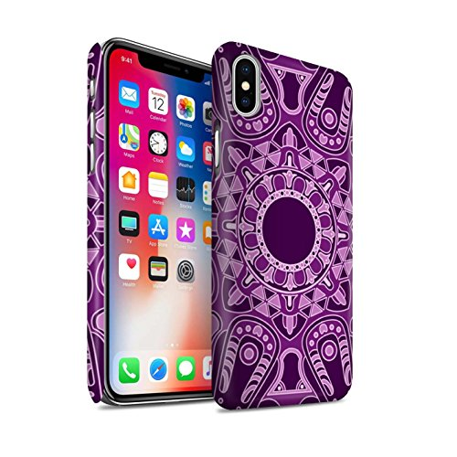 STUFF4 Matte Snap-On Hülle / Case für Apple iPhone X/10 / Blumen/Blau Muster / Mandala Kunst Kollektion Achteck/Lila