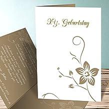 Einladungskarte 80 Geburtstag, Blümchenkarte 15 Karten, Vertikale  Klappkarte 105x148 Inkl. Weiße Umschläge,