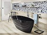 Freistehende Badewanne Mineralguss - oval schwarz - inkl. Ablaufventil & Siphon - 160 x 70 - Modell Modena