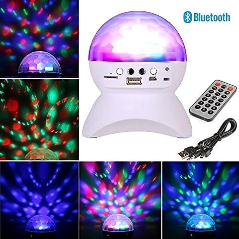 Aneo Kristall magische Bühne Deko Leuchtmittel LED Lampe mit MP3 Bluetooth USB, RGB bunten LED Disco Licht Tragbar Stereo Mini Bluetooth Lautsprecher mit AUX-TF-Karte MP3 FM für Partei KTV Disco DJ Bar Dekoration