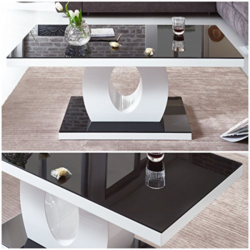 Designer Couchtisch weiß Hochglanz mit Glasplatte 4 Rollen schwarz Amelie 120x60x47cm Schwarzglas Glastisch