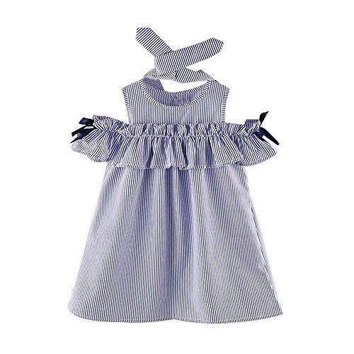 Yuan Kleinkind Kinder Baby Mädchen Outfit Kleidung trägerlosen Streifen Kleid + Stirnband Set (2/3T, Blau)