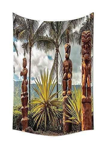 Tiki Stoff (Palm Tree Tapisserie tropischen Insel Ocean Hawaii Tiki Maske Wand Decor Kunst Bilder Fine Art für Schlafzimmer Wohnzimmer Home Dekorationen Stoff Raumteiler Wohnheim Zubehör Braun Senf Grün Weiß, multi, 59W By 80L Inch)