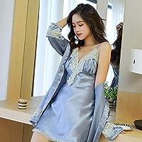 Pijamas de las señoras, ropa de noche atractiva erótica atractiva de las mujeres pijamas de seda de hielo de manga larga camisón de la correa de dos piezas camisón cordón de las mujeres con el cojín e