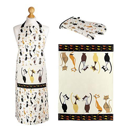 SPOTTED DOG GIFT COMPANY 3er Geschenkset, Geschirrtüch, Topflappen Handschuh und Kochschürze Damen, Elegantes Katzen Design, Geschenk für Frauen Katzenliebhaber (Topflappen, Geschirrtücher)