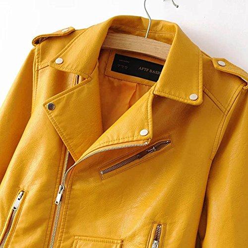 SaiDeng Donna Punk Stile Giacca Moto Corto In Pelle Pu Cappotto Cerniera Jacket Giallo
