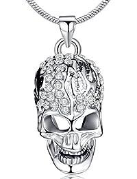Infinite U Cráneo Calavera Cristal Austríaco Chapado en Plata Colgante/Collar para Mujer/Hombre/Adolescente/Unisex