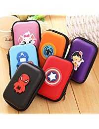 ZA EShop (Set Of 2) Cartoon Charactor Zipper Bag One Ractangle And One Round Silicone Zipper Coin Purse