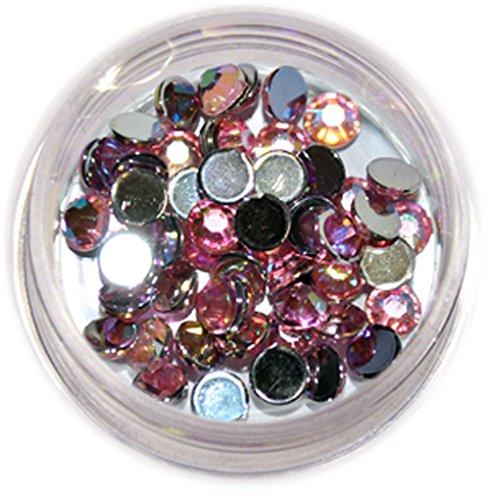 RM Beautynails 4 mm grande en rose ronde strass paillettes strass env. 50 pièces pour Nail Art et Manucure Design