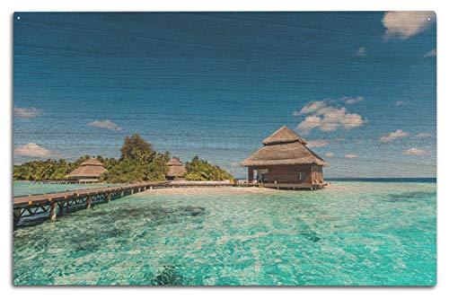 Lantern Press A-90845 Foto Beach Villas on a Small Tropical Island 10 x 15 Wood Sign Multi