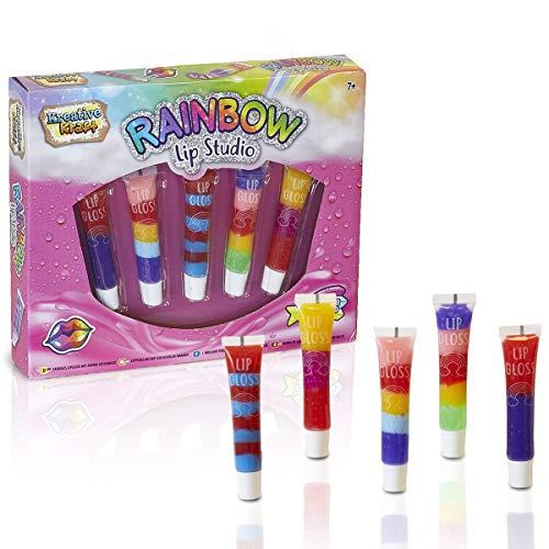 KreativeKraft Set Lipglosses Für Mädchen Enthält 5 Riegel Lipstick Gloss | Kosmetik Für Mädchen | Geschenkidee Für Mädchen Jeden Alters Rainbow Lip Studio