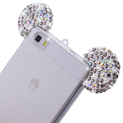 Huawei P8 LITE Cover Silicone Trasparente, GrandEver UltraSlim TPU Morbido Chiaro Custodia con Glitter Orecchie di Cristallo Orso per Natale, Bling Strass Diamante Case Ultra Protettiva Antiurto Anti  Bianco
