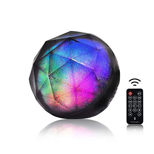 Freeauto LED Altavoces Bluetooth, 2 en 1 Lámpara LED de Estrellas de Colores, Mini Altavoz de Bola estéreo de Cristal portátil inalámbrico con Control Remoto Recargable Party Dance Light