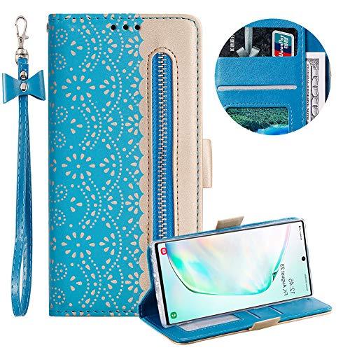 Reißverschluss Brieftasche für Samsung Galaxy Note 10 pro,Gurt Wallet Handyhülle für Samsung Galaxy Note 10 pro,Moiky Stilvoll Blau Spitze Blume Malerei Klappbar Stand Leder Handytasche