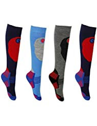 Kids SKI SOCKS 4 Pair Pack - Boys or Girls in 3 Sizes - Comfort Padding, Extra Warmth and Shin Protection for High Performance.