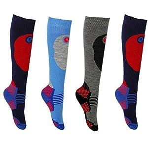 Erbro Kinder SKI-Socken, 4 Paar, für Jungen und Mädchen, in 3 Größen erhältlich, Extra-Komfort-Polsterung Wärme und Schutz für Schienbein hohe Performance.