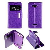 Housse Coque Etui Alcatel One Touch Pop C7 Folio fenêtre Simili Cuir Protection intégrale- Violet