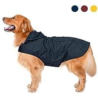 Zellar Dog Raincoat with Hood,Collar Hole, 100% Waterproof Ultra-Light Breathable Rainwear Rain Jacket with Safe Reflective Strips for Medium to Large Dog, Blue, 3XL