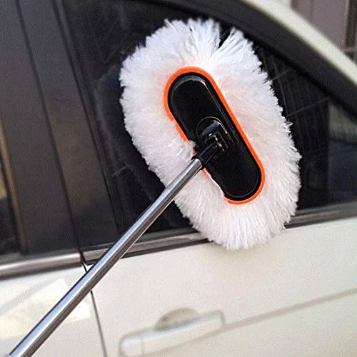 RUIX Autowäsche, Autowaschbürste, Langer Stiel, Lange Stange, Autobürste, einziehbares weiches Haar Milchseide Autowaschmop Autowaschwerkzeug
