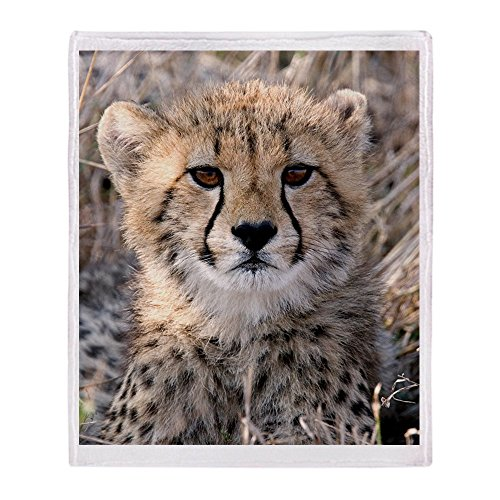CafePress-Cheetah Cub-weicher Fleece Überwurf Decke, 127x 152,4cm Stadion Decke, weiß, 50x60