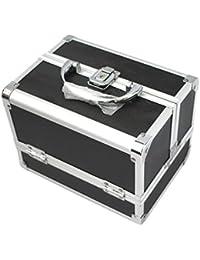 KScase Aluminium Schminkkoffer Make up Beauty Case Kosmetikkoffer mit Spiegel 205x155x155mm (Schwarz)