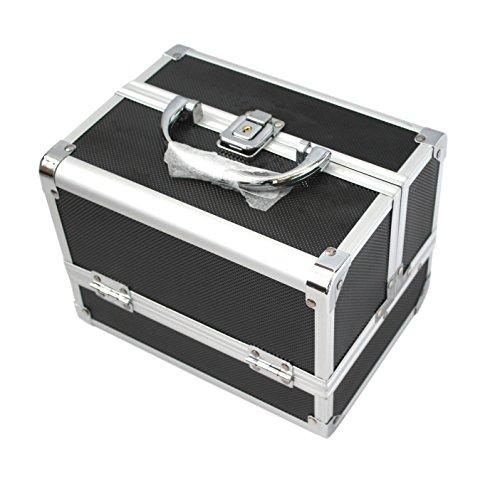 KScase Aluminium Schminkkoffer Make up Beauty Case Kosmetikkoffer mit Spiegel 205x155x155mm (Schwarz) - Schwarze Abgerundete Metall-rahmen