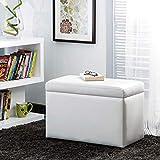 Home Centre Wave Faux Leather Medium Ottoman - White