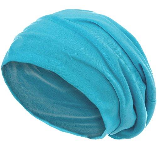 style3 Slouch Beanie aus atmungsaktivem, feinem und leichten Jersey Unisex Mütze Haube Bini Einheitsgröße, Farbe:Aqua -