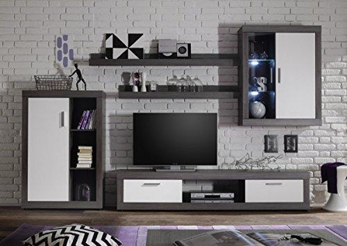 Dreams4Home Wohnkombination 'Tiziano I', Schrank Vitrine TV-Schrank Wohnwand Wohnelement Wohnzimmer Regalwand inkl. Beleuchtung Rauchsilber / weiß, Ausführung:ohne Glas-TV-Bühne