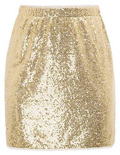 Pailletten Rock Gold elastische röcke kurz Bleistiftrock CL910-2 M