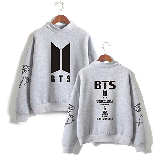SERAPHY Unisex Sweatshirts Bangtan Boys BTS Kapuzenpullover Rollkragen Sweatshirts für Armee Suga Jimin Jin Jung Jook J-Hope Rap-Monster V grau S