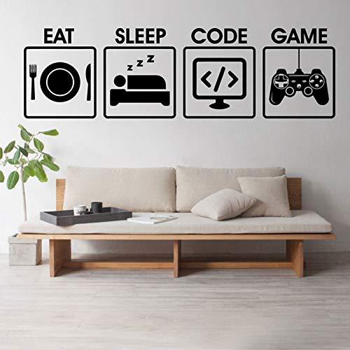 WWYJN Gamer Wall Decal Eat Sleep Game Code Programming Controller Video Vinyl Art Home Decor for Kids Bedroom Wall Sticker Mural87x46cm