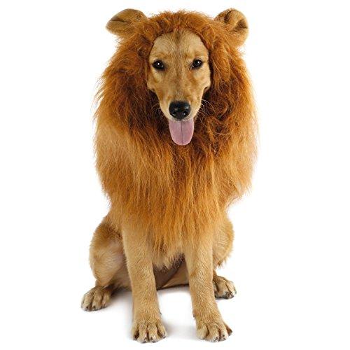 Imagen de ateid peluca con oreja de león para perro disfraz cosplay navidad, marrón claro