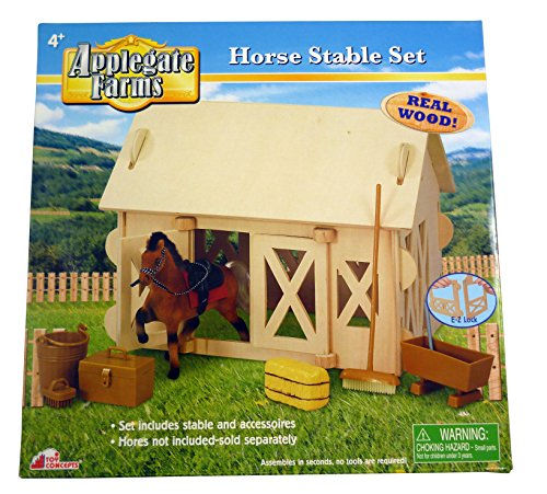 Applegate Farms - Wooden Horse Stable Set - EZ Lock montieren - Inklusive Zubehör Ez Montieren