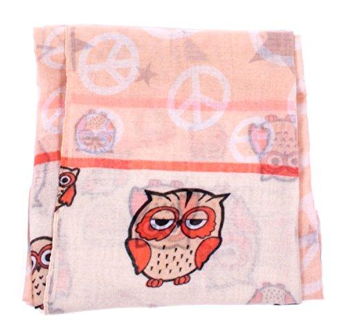 écharpe tube foulard femme mprimé chouette peace et étoiles en plusieurs couleurs foulard rose beige chouette peace étoiles 67x180