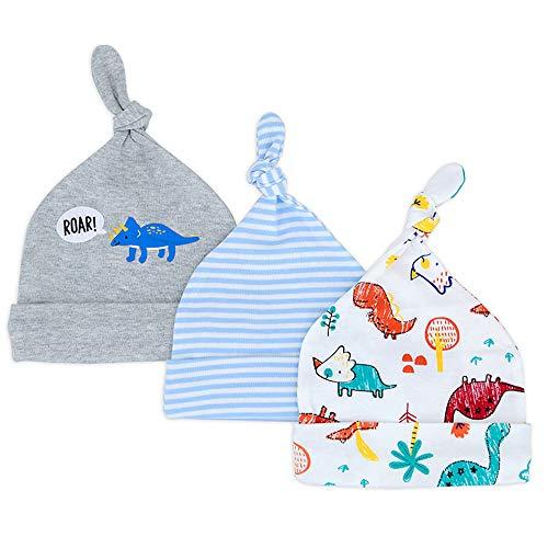 Lacofia Neugeborenes Baby Jungen Mädchen Baumwolle Gedruckt Beanie Hut Unisex Kleinkind Top Knoten Mütze 0-6 Monate Pack 3 16