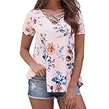 VEMOW Heißer Verkauf Sommer Elegante Damen Mädchen Frauen Blumendruck Kurzarm Shirt Lose Schlank Tägliche Casual Bluse Top T Shirts(Rosa, EU-44/CN-L)