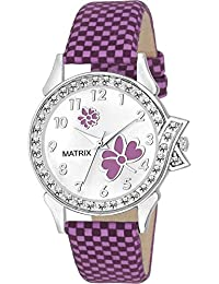 Matrix White Dial & Purple Leather Strap Analog Watch with Stone Studded Work for Women's/Girls- (WN-13)