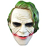 LJSHU Halloween Batman Clown Mask Horror Mask Dark Night Knight Resina Green Hair COS Mask